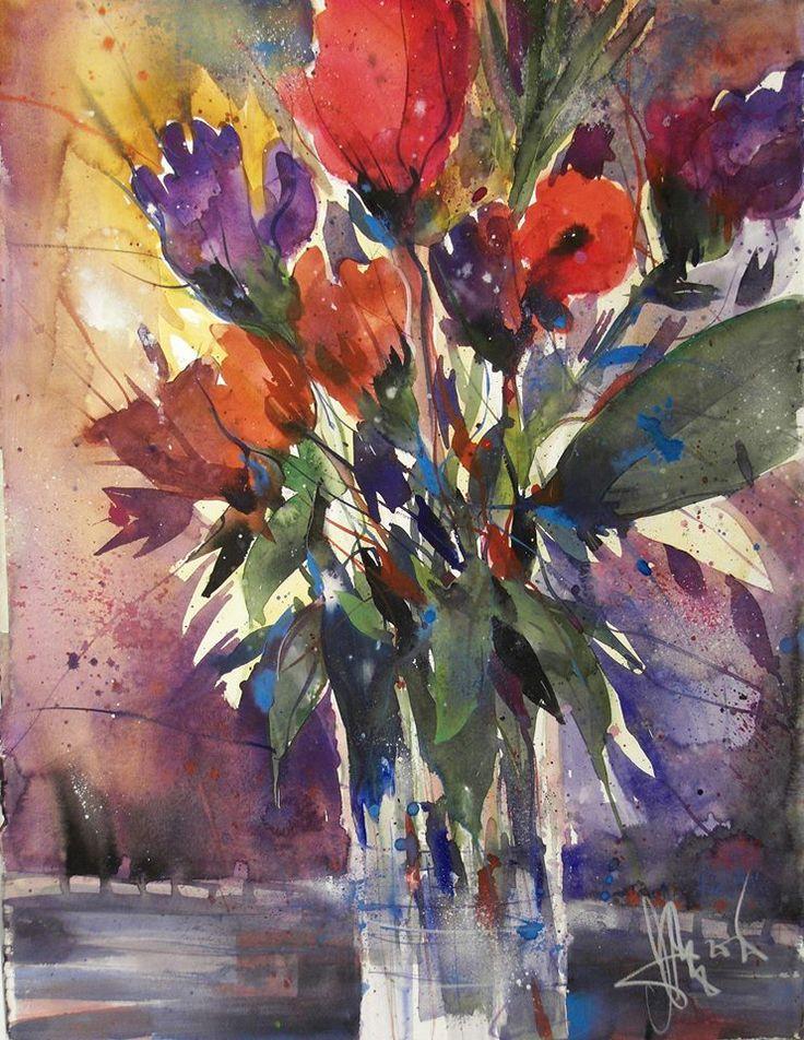 Flowers, Aquarell auf Bütten, 76 x 56 cm, 2015 www.andreasmattern.com