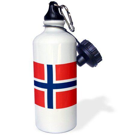 3dRose Flag of Norway - Norwegian red blue white Scandinavian Nordic Cross - Scandinavia world country, Sports Water Bottle, 21oz