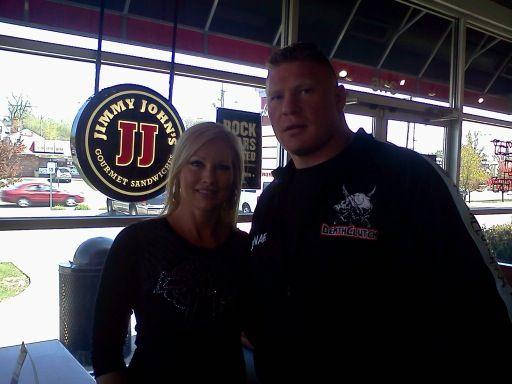 "Brock Lesnar and wife Rena ""Sable"" Mero at Jimmy John's in Kalamazoo, MI"