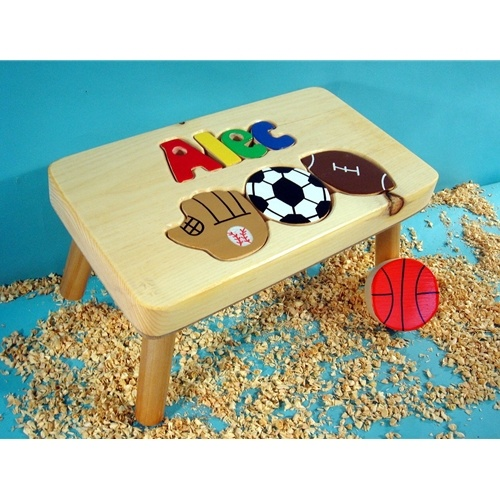 Puzzle Stool With Sports Personalized Name Stools