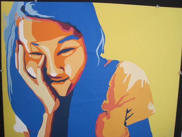 Papercut value portraits in split complement color scheme-absolutely gorgeous