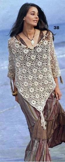 Crocheted lace poncho sizes: 36-42