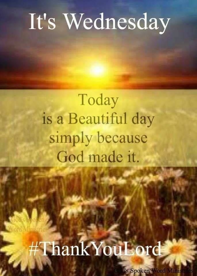 Today Is Beautiful Day Simply Because God Made It Pictures Photos And Images For Facebook Tum Wednesday Quotes Happy Wednesday Quotes Good Morning Wednesday