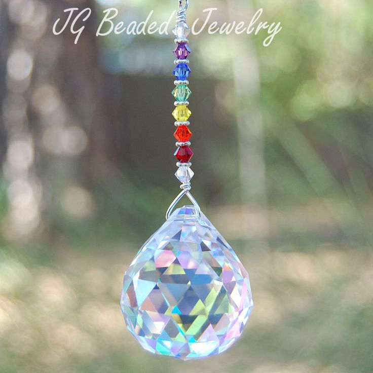 Rainbow Prism Crystal Suncatcher - Pick Your Prism Color, Window Crystal, Light Pull, Rearview Mirror Decoration, Swarovski Suncatcher by JGBeadedJewelry on Etsy https://www.etsy.com/listing/118140929/rainbow-prism-crystal-suncatcher-pick