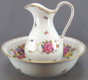 Carl Thieme Dresden Hand Painted Floral Garlands Pitcher & Wash Basin 1901 - 20