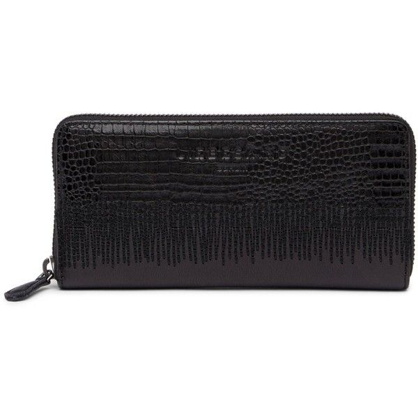 Liebeskind Berlin Lizard Embossed Stitch Zip-Around Leather Wallet ($60) ❤ liked on Polyvore featuring bags, wallets, nairobi black, liebeskind, liebeskind wallet, leather continental wallet, embossed wallet and embossed leather bag
