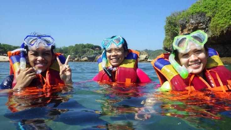 Snorkling at Krakal Beach. Yogyakarta, Indonesia.