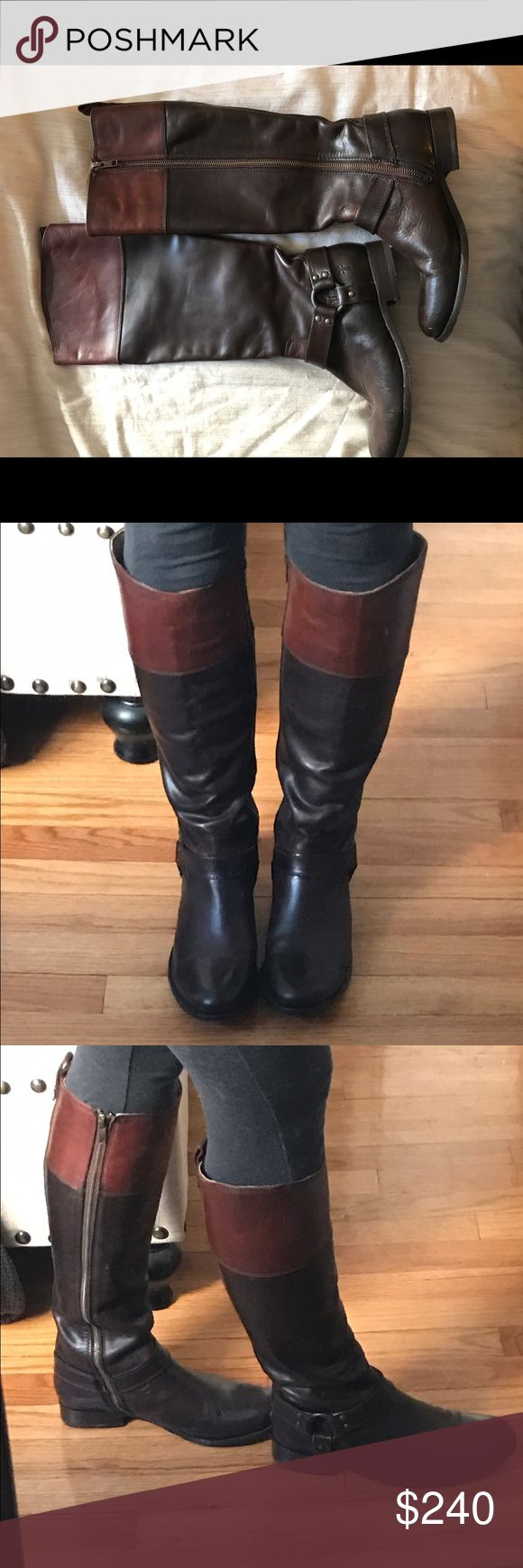 Frye Two Tone Riding Boots Size 8 two tone brown leather Frye riding boots. Worn twice - not for people with a wider calf. Frye Shoes Winter & Rain Boots