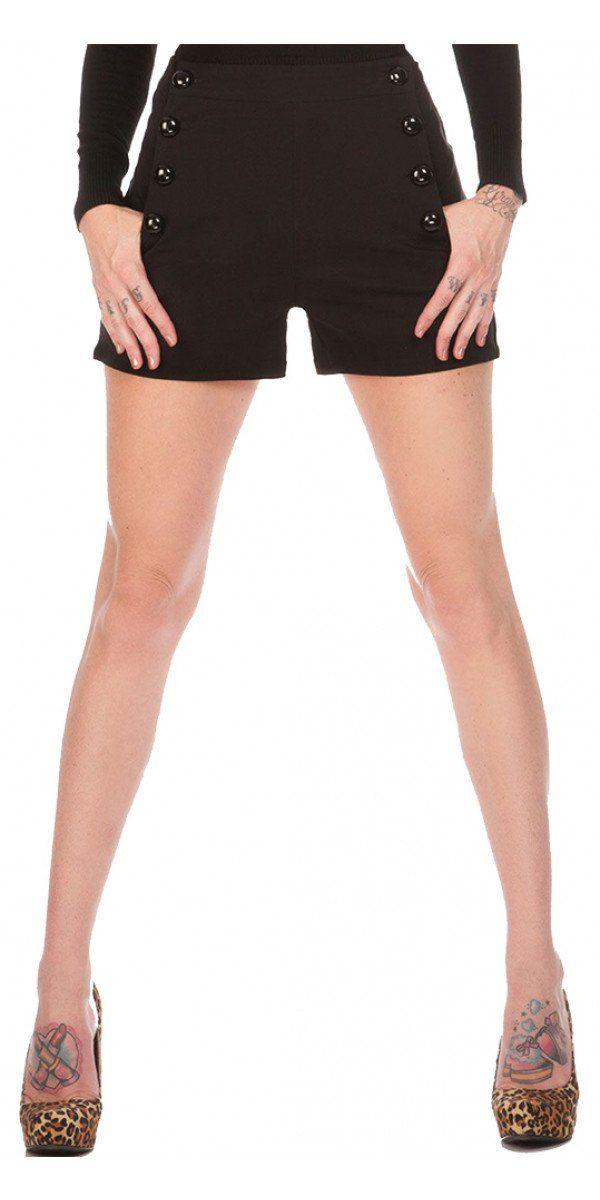 High Waisted Stretch Shorts in Black