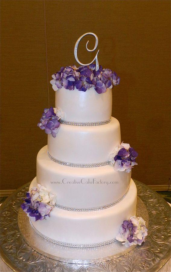 Purple Icing Cake With Rhinestone Band