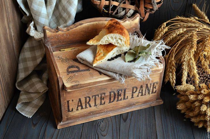 """Купить """"Ароматная выпечка"""" Короб /массив сосны/ - коричневый, хлебница, хлебница купить, хлебница из дерева"""