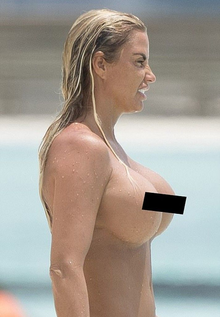 Katie Price Topless Beach Pictures 8 Pics  Topless -9590
