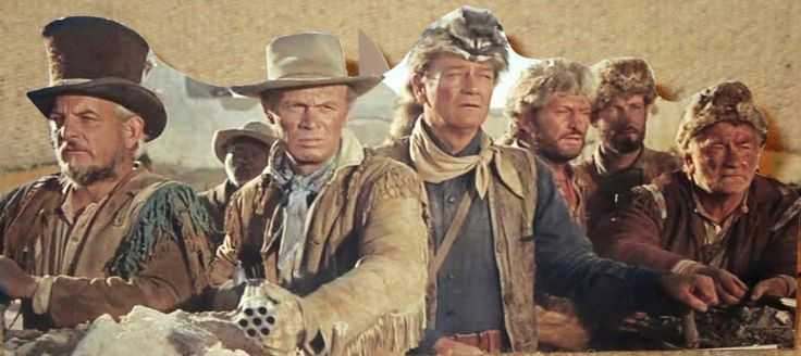 "Denver Pyle, Richard Widmark, John Wayne, Chuck Roberson and Chill Wills at ""The Alamo"" (1960)."