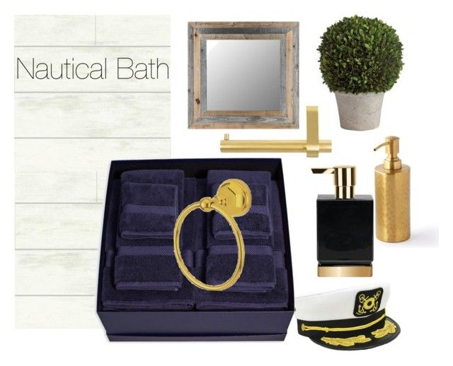 Nautical Bath by britney-lynn on Polyvore featuring interior, interiors, interior design, home, home decor, interior decorating, Brooks Brothers, Pigeon & Poodle, Elements of Design and Decor Walther