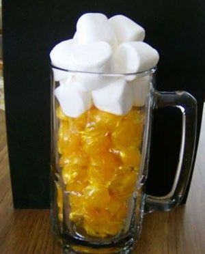 This is a cool idea for a guy themed party.  Or even as a gift to a beer lover.   A beer mug, the yellow candies, and then some white candies, wrap it with some tulle, slap a bow on it and you're awesome!