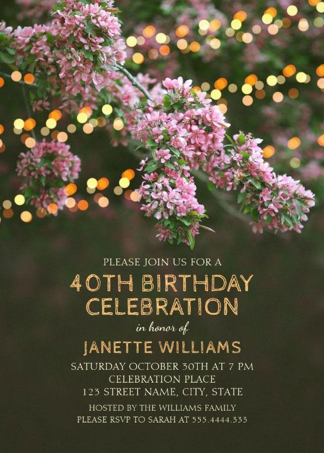 Garden Lights 40th Birthday Invitations