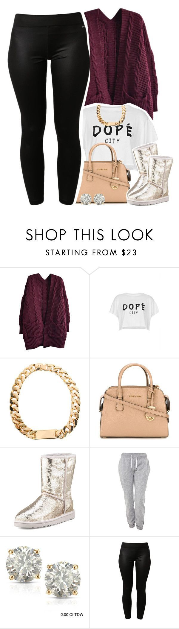 """""""Dopé"""" by lulu-foreva ❤ liked on Polyvore featuring Motel, MICHAEL Michael Kors, UGG Australia, White Label, Auriya, adidas and plus size clothing"""