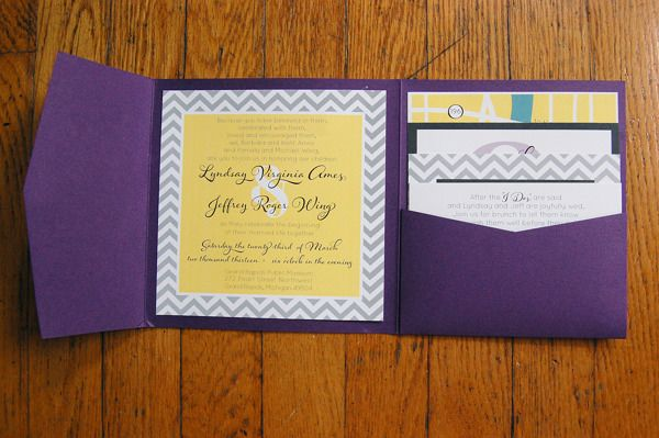 Modern Purple, Yellow, and Gray Chevron Wedding Invitations | Molly Benningfield, via Behance