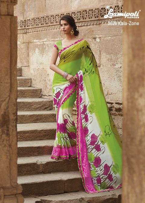 Satin georgette saree with remarkable color combination & prints.