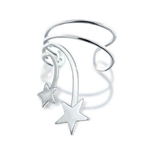 Bling Jewelry Patriotic Double Shooting Star Ear Cuff Left Ear Sterling Silver