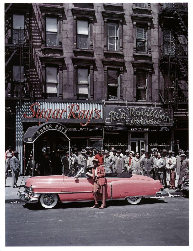 Boxer, Sugar Ray Robinson in front of his pink Cadillac. Harlem 1950