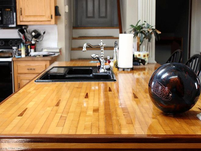 Bowling lane countertop really ties the room together ...