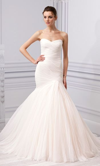 "MoniqueLhuillier's New Wedding Dress Collection: ""Forever"" Blush Spanish Tulle Trumpet Gown."