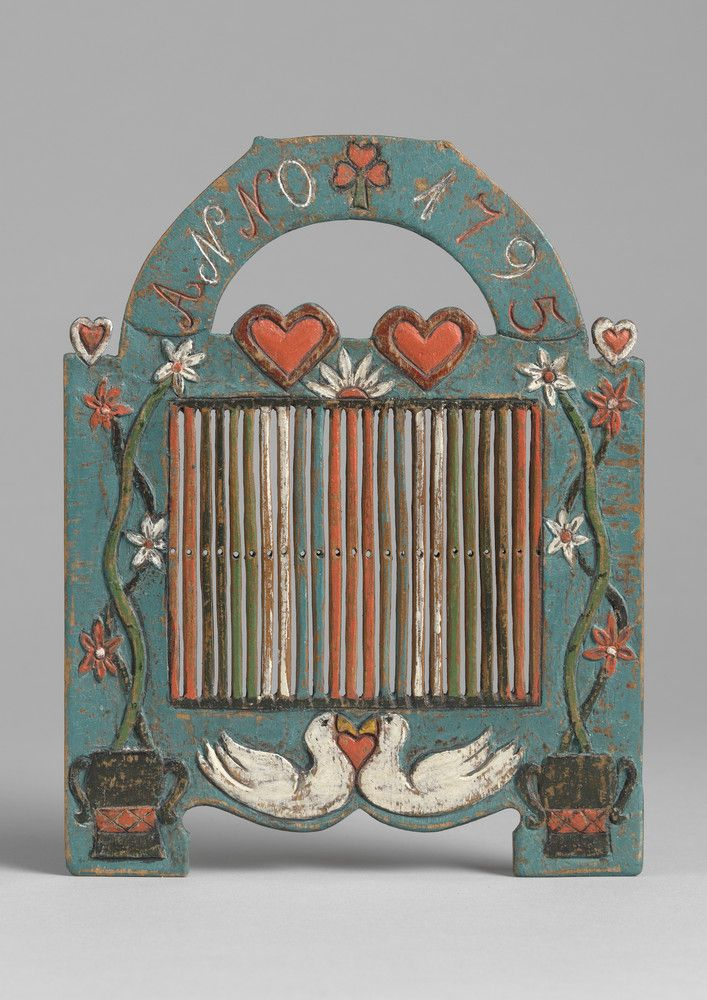 Exceptional Early Folk Art Love Token Braid Loom (Sold) With Arched Cresting Flanked by Carved Twin Hearts  Two Further Hearts, Handled Urns...