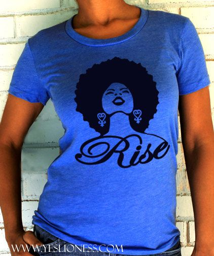 The Rise Design is a fresh & new interpretation of the classic natural, hair, afro t-shirt!This is Tee has a classic & feminine fit and a slightly