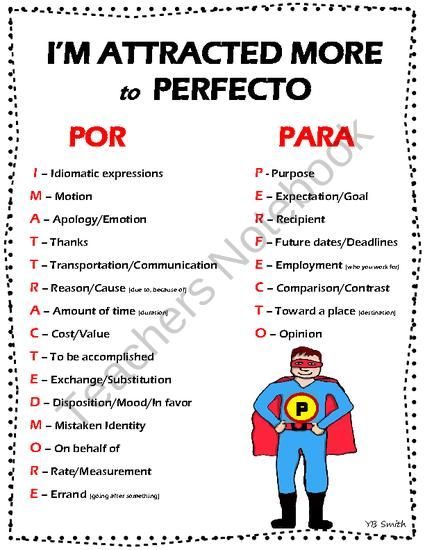 Differences between the uses of por and para.  Concise study tool for students listing the major reasons with accompanying pictures and example sentences.   Great for visual learners, let's the students SEE the difference with pictures!  Spanish the Easy Way! on TeachersNotebook.com (4 pages)