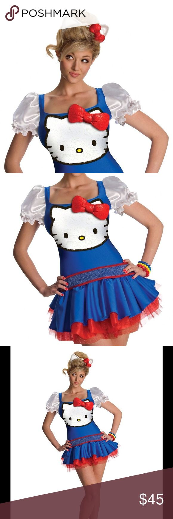 Costume Hello Kitty Halloween Fancy Dress Size- S New Hello Kitty Blue Classic Costume Hello Kitty Halloween Fancy Dress Size- SmallThis is a Size Small   Hello Kitty Blue Classic Costume This Hello Kitty costume for women includes a dress and headpiece. This Hello Kitty Blue Classic in adult Size Small. This Hello Kitty Blue Classic is an officially licensed Hello Kitty costume. The red petticoat is sold separately from this cute Hello Kitty costume. Other