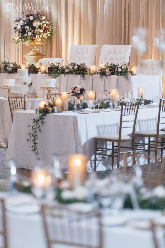 Old Hollywood Glamour Wedding Burgundy Table Settings Candle And Greenery
