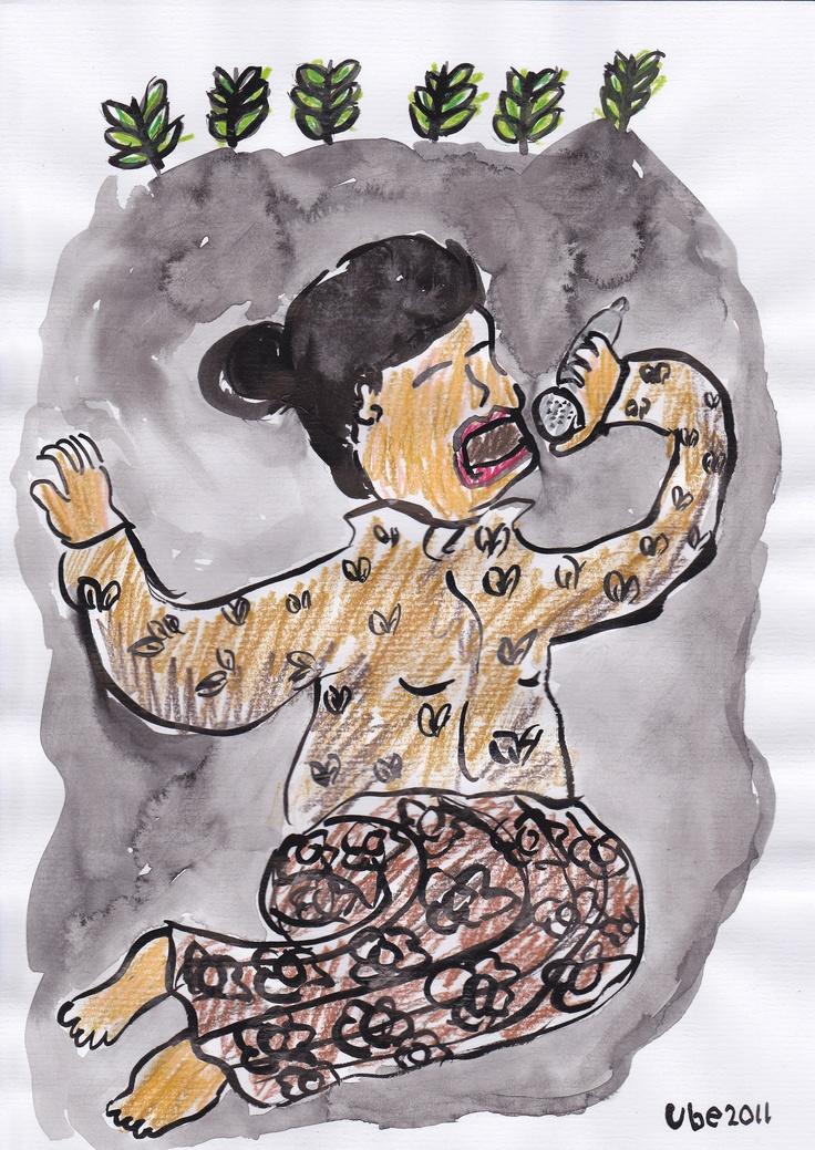 alunan penyanyi sinden,tinta cina dan pensil warna di atas kertas A4,2011.. (ube)