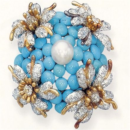 Jean Schlumberger for Tiffany & Co. - gold brooch with turquoise, diamond and pearl. Photo taken from Tiffany Colored Gems by John Loring Ed Abrams.