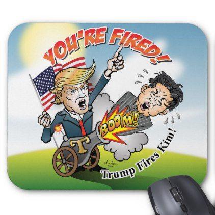 #TRUMP FIRES KIM JONG-UN Political Satire Korea Gag Mouse Pad - #office #gifts #giftideas #business