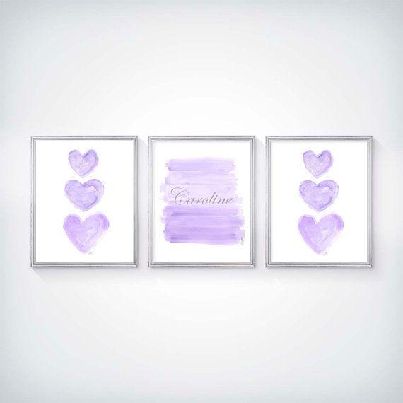Púrpura y plata vivero arte arte de pared por OutsideInArtStudio