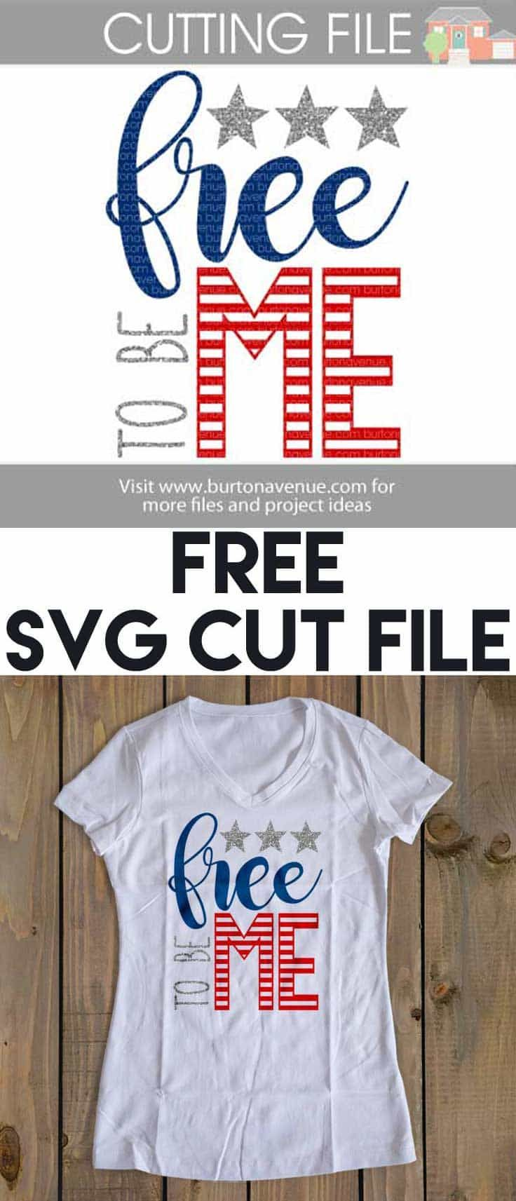 Free Patriotic SVG Cut File for Silhouette, Cricut, and more.
