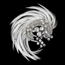 Antique Silver Rhodium Crystal & Ivory Feather Fascinator Clip
