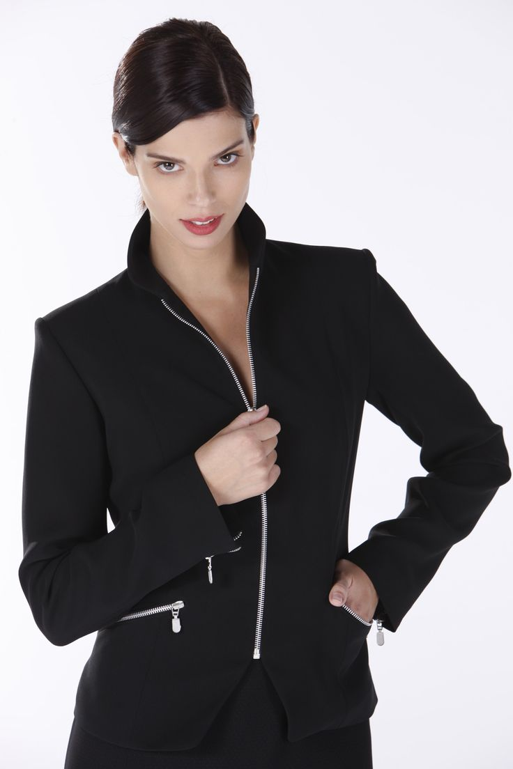 Black jacket with silver zipper accents.