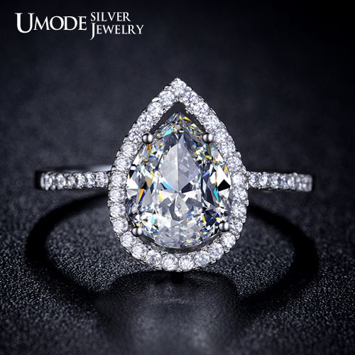 Aliexpress.com : Buy UMODE Tear Drop Shaped Genuine 925 Sterling Silver 2 carat Pear cut Engagement Ring YR0018 from Reliable ring comb suppliers on UMODE Silver Jewelry
