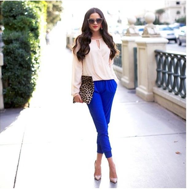 Cobalt Blue Dress With Leopard Shoes