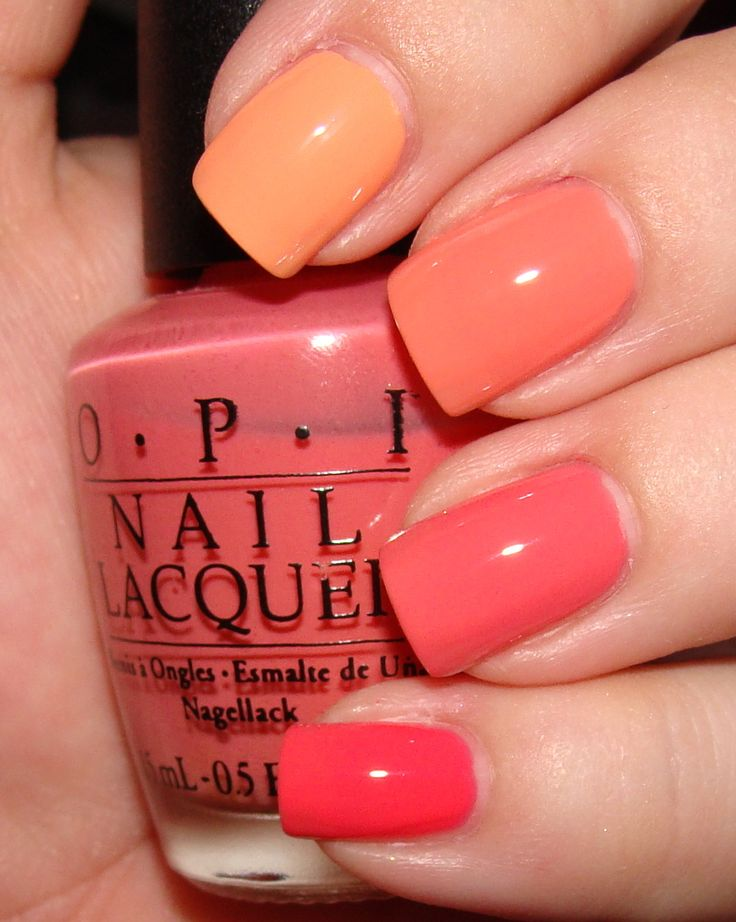 index to pinky:  china glaze peachy keen, color club coral cascade, opi back to the beach peach, lippmann daytripper
