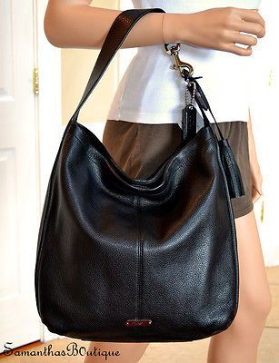 NWT COACH Avery Black Soft Leather Large Hobo Bag F23309