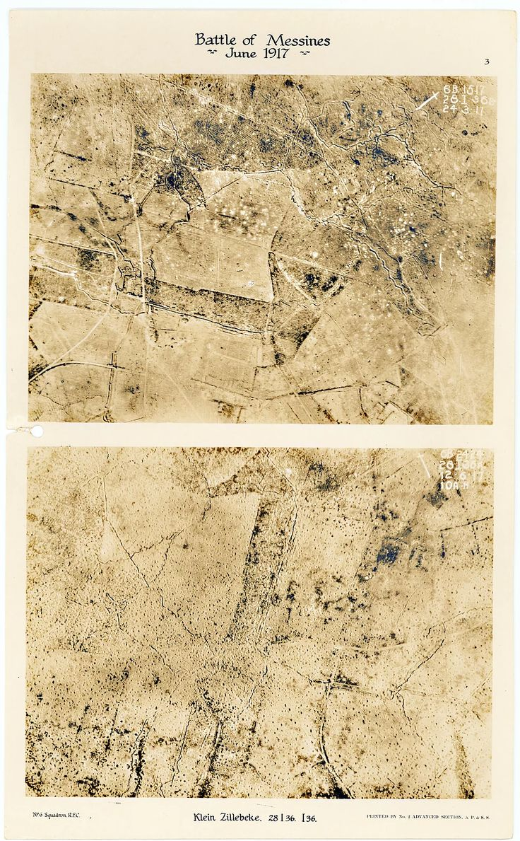 This is page 3 of 43 pages of aerial photos taken by 6 Squadron before and after the Battle of Messines. The upper photo is of Klein-Zillebeke, taken before Messines and the lower photo of the section immediately to the west of the first, taken after the attack at Messines