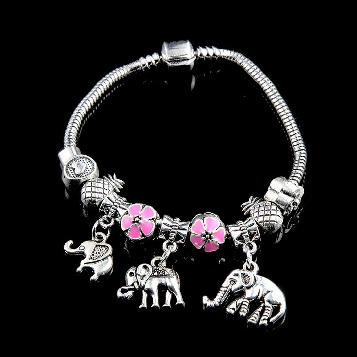 New Design Silver Plated Elephant Anchor Tiara Charm Bracelets for Girl Gift  #Affiliate