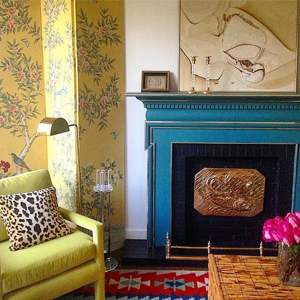 .Turquoise fireplace with mantle art