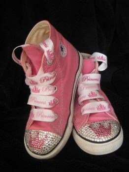 Princess tiara crown wand Custom Converse baby bling with swarovski rhinestone crystal bling shoes toddler youth adult. $95.00, via Etsy.