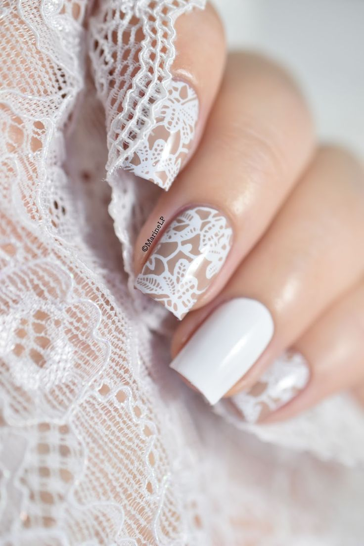 Bundle Monster Basic Instinct collection - Valentine's Day lace nail art.