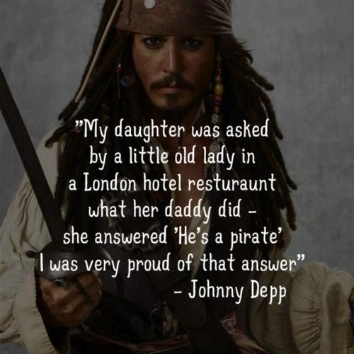Johnny Depp quote about his daughter when she was a youngster.