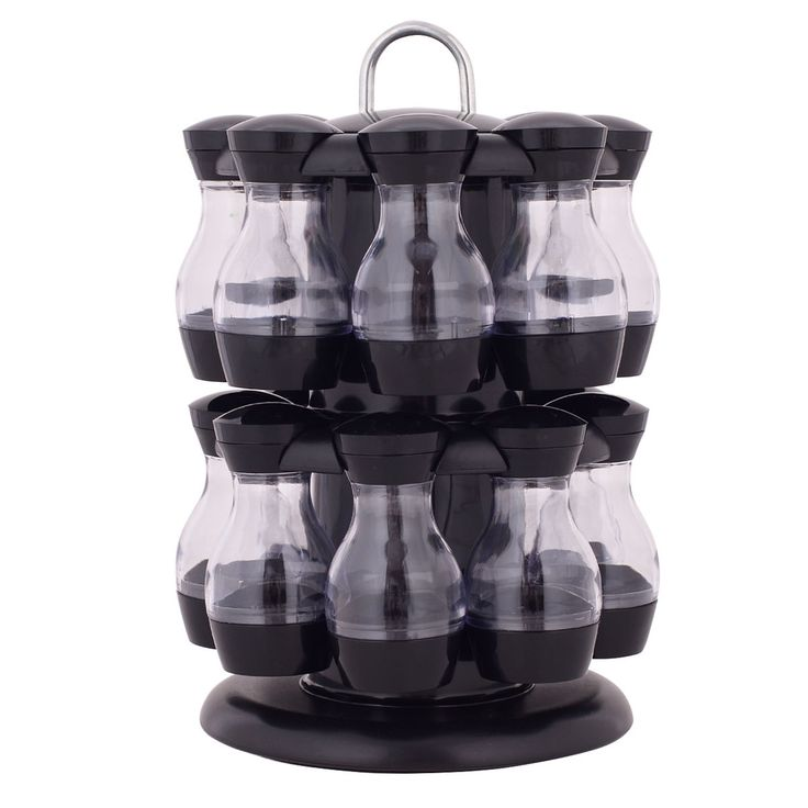 16 Jar Revolving Spice Rack Herb Rotating Countertop